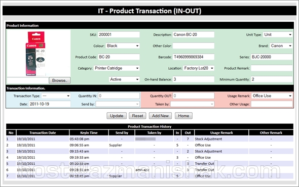 Fasa ke2 – PHP Projek: Transaction IN/OUT