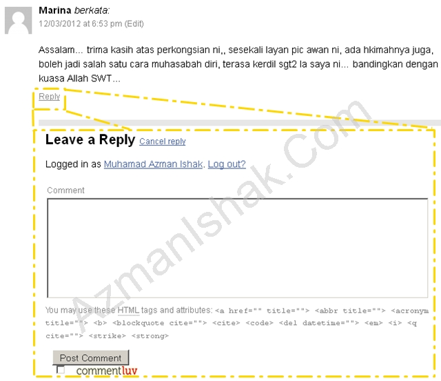 Quick Post – Custom Template Comment without reloading the whole page