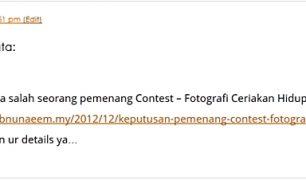 Kegembiraan pertama: Dapat tempat ketiga pertandingan fotografi anjuran kawan-kawan... yeayyy~