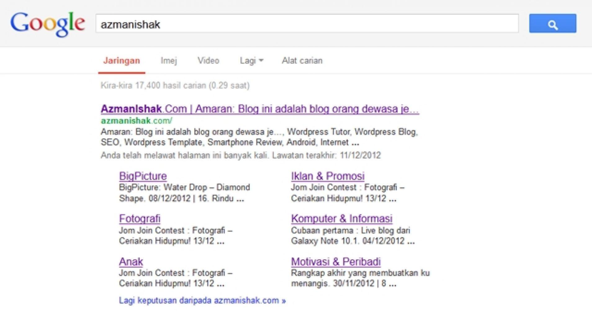 hasil carian laman web azmanishak di google
