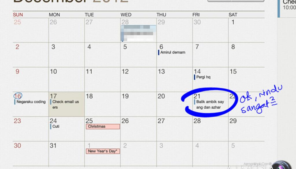 Kalendar peribadi
