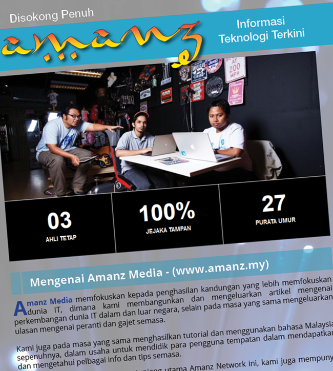 Proses pembangunan yang mendapat sokongan dari Amanz Media Sdn. Bhd,