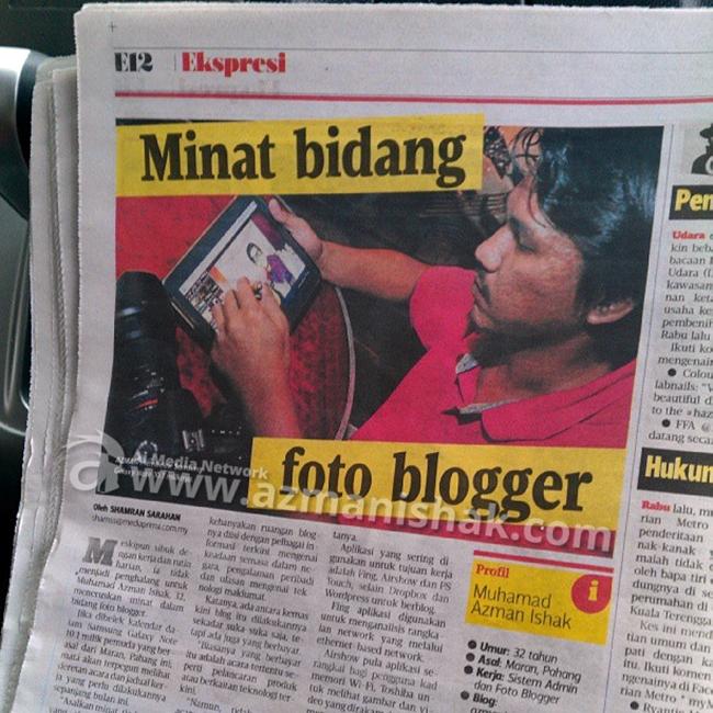 Muka Pakcik terpampang dalam Mingguan Metro 30/06/2013 satu muka surat taw. hahaha