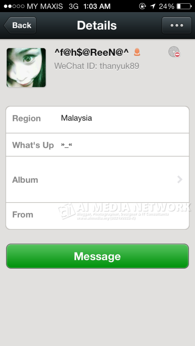 Profile WeChat