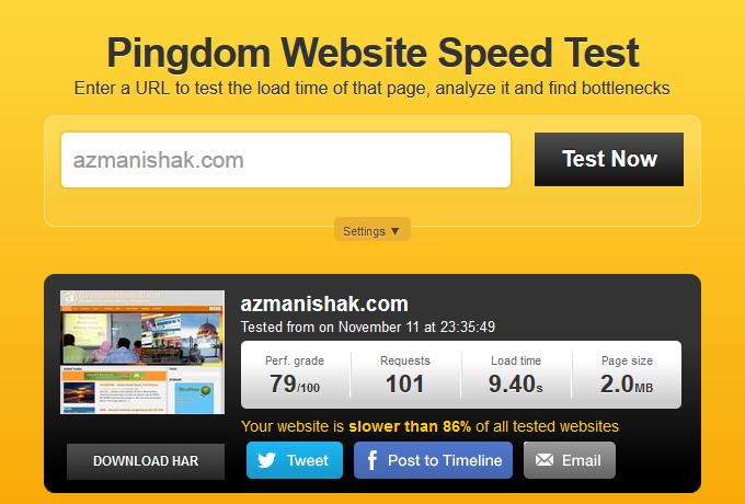Loading speed blog AzmanIshak.Com. Ini termasuk load bersama iklan.