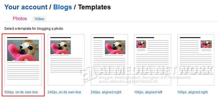 Pilih template mana yang anda kehendaki supaya flickr menggunakan template ini semasa menghantar post ke blog anda