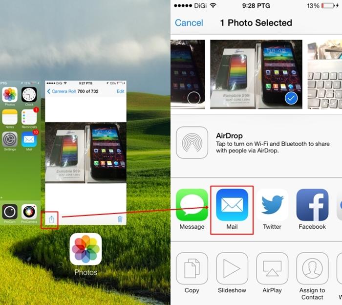 Edited: Pilih gambar yang nak di liveblog, kemudian tekan butang share kat telefon bimbit. Seterusnya tekan je ikon email.