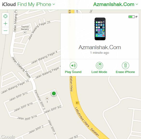 Screen paparan peta lokasi iOS device anda berada
