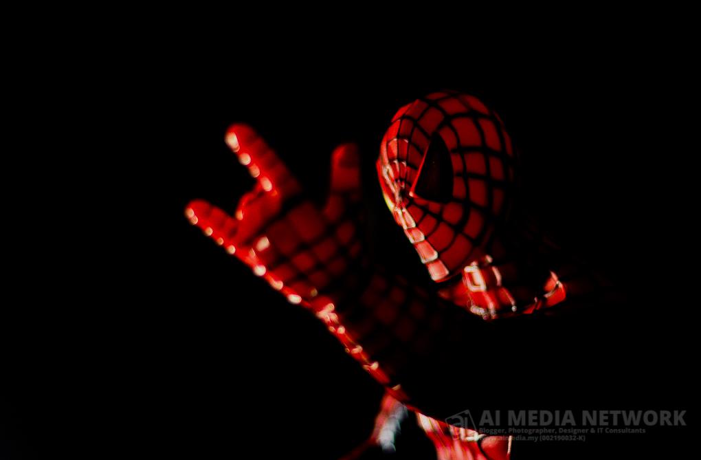 Spiderman ni, aku beli siang tadi untuk along. Bila along dah tidur.. apa lagi.. pinjam kejap la.. haha